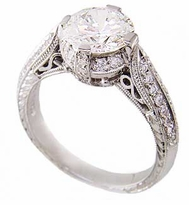 Charlottan 1 Carat Round Cubic Zirconia Cathedral Estate Style Pave Ring
