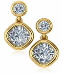 Chateau Round and Cushion Cut Cubic Zirconia Bezel Drop Earrings