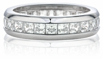 Chesterfield Princess Cut Channel Set Cubic Zirconia Eternity Band