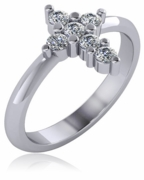 Christian Cross Ring Mini Version with Shared Prong Set Cubic Zirconia Rounds