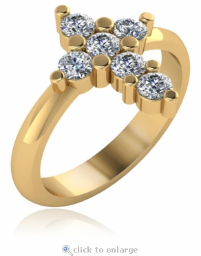 Christian Cross Ring with Shared Prong Set Cubic Zirconia Rounds