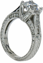 Christoph 1.5 Carat Round Cubic Zirconia Cathedral Pave Antique Estate Style Ring