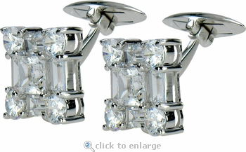Christophe Princess Round Emerald Cut Cubic Zirconia Cufflinks