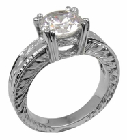 Chrysler 2 Carat Round Double Prong Cubic Zirconia Engraved Estate Style Solitaire