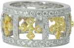 Churchill Pave Set Round Cubic Zirconia Two Tone Antique Cross Style Band