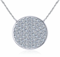 Circle Disc Pave Set Cubic Zirconia Necklace - Medium