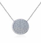 Circle Disc Pave Set Cubic Zirconia Necklace - Small