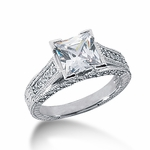 Clarisse 1.5 Carat Princess Cut Cubic Zirconia Engraved Cathedral Pave Solitaire