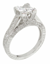 Clarisse Princess Cut Cubic Zirconia Engraved Cathedral Pave Solitaire Series