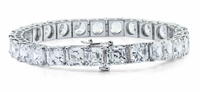 Classic 1.5 Carat Each Asscher Cut Inspired Prong Set Cubic Zirconia Tennis Bracelet