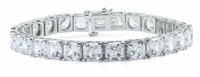 Classic 1 Carat Each Asscher Cut Inspired Prong Set Cubic Zirconia Tennis Bracelet