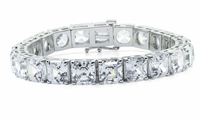 Classic 2.5 Carat Each Asscher Cut Inspired Prong Set Cubic Zirconia Tennis Bracelet