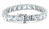 Classic 4 Carat Each Asscher Cut Inspired Prong Set Cubic Zirconia Tennis Bracelet