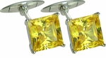 Classic 5.5 Carat Princess Cut Square Canary Cubic Zirconia Cufflinks