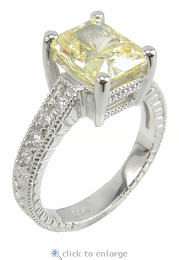 Claudine 1 Carat Emerald Radiant Cut Cubic Zirconia Pave Engraved Solitaire Engagement Ring