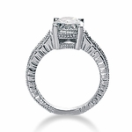 Claudine 1 Carat Oval Cubic Zirconia Pave Engraved Solitaire Engagement Ring