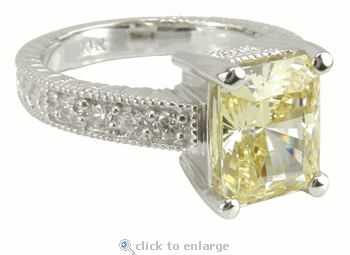 Claudine 2.5 Carat Emerald Radiant Cut Cubic Zirconia Pave Engraved Solitaire Engagement Ring