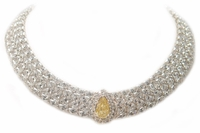 Cleo 6 Carat Canary Pear Center Cubic Zirconia Cluster Statement Necklace