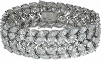 Cleo .75 Carat Each Marquise and Pear Cubic Zirconia Estate Style Bracelet