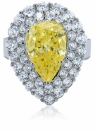 Cleo Canary 6 Carat Pear Cubic Zirconia Double Halo Cluster Cocktail Ring