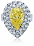 Cleo Canary Pear Cubic Zirconia Double Halo Cluster Cocktail Ring