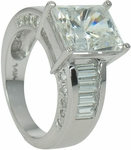 Clermont 4 Carat Radiant Emerald Cut Cubic Zirconia With Channel Set Baguettes Solitaire Engagement Ring
