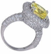 Collette 5.5 Carat Cushion Cut Canary Cubic Zirconia Pave Encrusted Halo Couture Ring