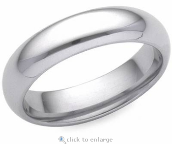 Comfort Fit 5mm Solid 14K White Gold Wedding Band