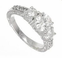 Compendia 1 Carat Cubic Zirconia Round Center Three Stone Pave Antique Estate Style Ring