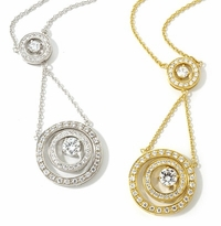 Concentia .75 Carat Round Cubic Zirconia Double Halo Drop Necklace