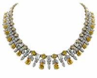 Concorde Vintage Cubic Zirconia Round Pear Marquise Emerald Cut Drop Statement Necklace