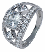 Concordia 1.5 Carat Bezel Set Cushion Cut Cubic Zirconia Princess Cut and Round Pave Band Ring