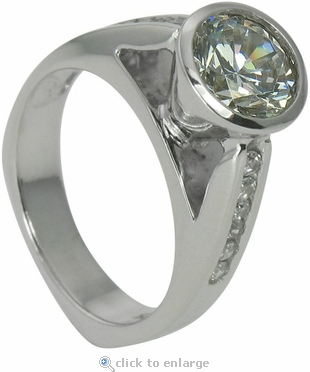 Condella 2 Carat Round Cubic Zirconia Cathedral Bezel Solitaire Engagement Ring