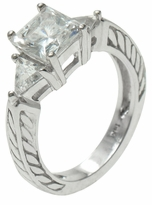 Constantine 1.5 Carat Princess Cut Cubic Zirconia Trillion Engraved Estate Style Solitaire