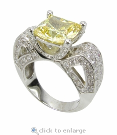 Contessa 4 Carat Cushion Cut Canary Cubic Zirconia Pave Ribbon Style Solitaire Engagement Ring