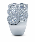 Cora Pave Set Cubic Zirconia Double Row Halo Three Row Wide Anniversary Band