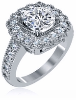 Corinthia 1.5 Carat Cushion Cut Cubic Zirconia Halo Antique Style Solitaire Engagement Ring