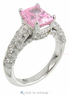 Correlli 1.5 Carat Pink Emerald Cut Cubic Zirconia Cathedral Pave Encrusted Solitaire Engagement Ring