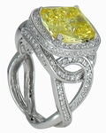 Corsair 5.5 Carat Cushion Cut Cubic Zirconia Pave Intertwined Solitaire Engagement Ring