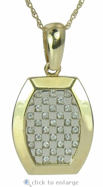 Cosmo Dog Tag Pave Set Round Cubic Zirconia Checkerboard Pendant