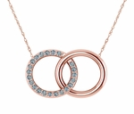 Couples Interlocking Marriage Double Open Circle Pave Pendant Necklace