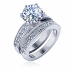 Covina 2.5 Carat Round Cathedral Milgrain Beaded Pave Cubic Zirconia Wedding Set