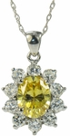 Cressida Canary Oval Halo Cubic Zirconia Cluster Pendant