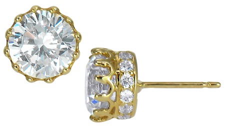 Crown 1 5 Carat Round Cubic Zirconia Pave Earring Studs