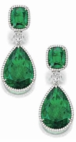 Crowne 12 Carat Pear Cubic Zirconia 4 Carat Cushion Cut Emerald Pave Halo Drop Earrings