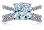 Cruzar 5.5 Carat Cushion Cut Square Cubic Zirconia Twisted Rope Split Shank Wedding Set