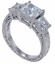 Cumbria Estate Antique 1.5 Carat Cubic Zirconia Princess Cut Three Stone Engraved Anniversary Ring