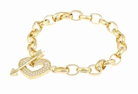 Cupids Heart and Arrow Pave Cubic Zirconia Toggle Bracelet