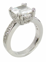 Cushion Cut 2.5 Carat Split Prong Set Cubic Zirconia Pave Solitaire Engagement Ring