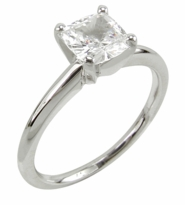 Cushion Cut Square Cubic Zirconia Classic Solitaire Engagement Rings